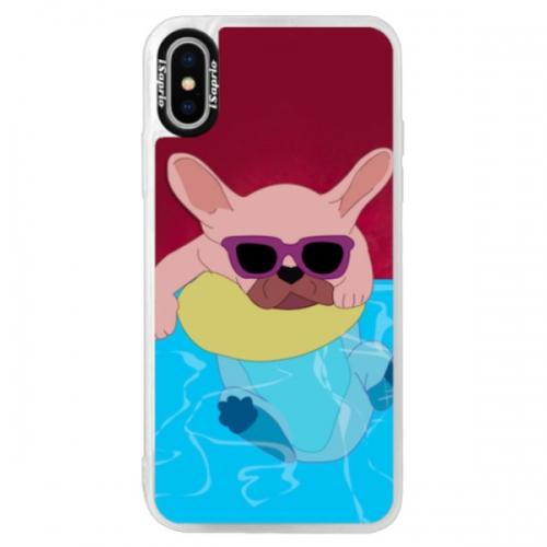 Neonové pouzdro Pink iSaprio - Swimming Dog - iPhone XS