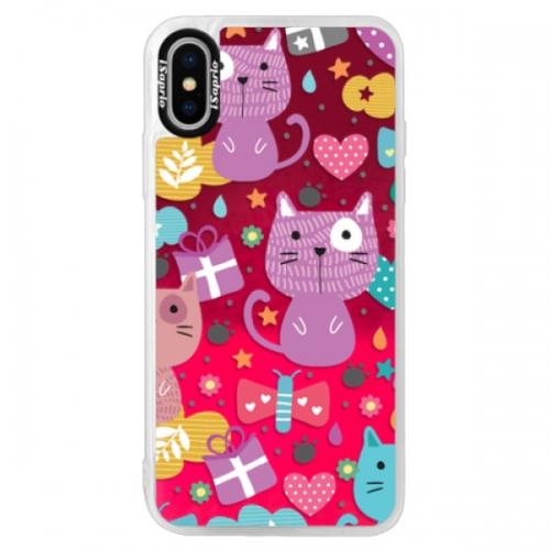 Neonové pouzdro Pink iSaprio - Cat pattern 01 - iPhone XS