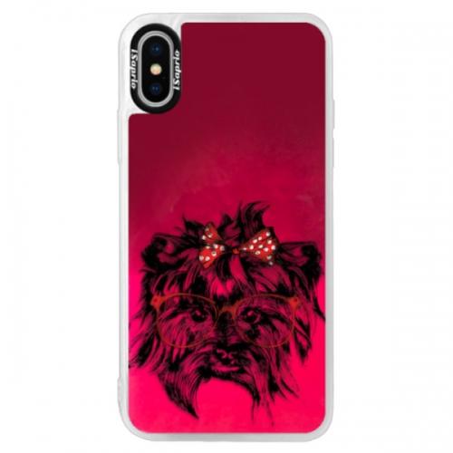 Neonové pouzdro Pink iSaprio - Dog 03 - iPhone XS