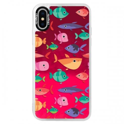 Neonové pouzdro Pink iSaprio - Fish pattern 01 - iPhone XS