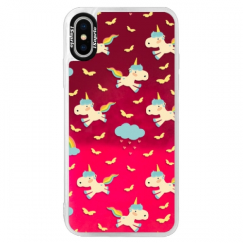 Neonové pouzdro Pink iSaprio - Unicorn pattern 01 - iPhone XS