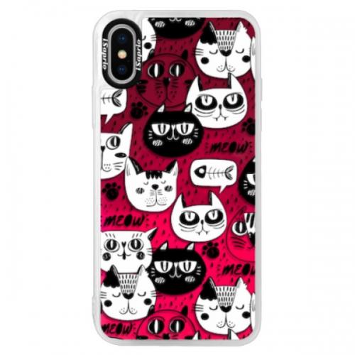 Neonové pouzdro Pink iSaprio - Cat pattern 03 - iPhone XS