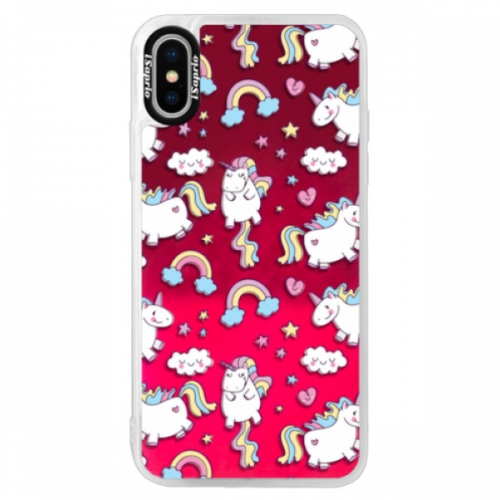 Neonové pouzdro Pink iSaprio - Unicorn pattern 02 - iPhone XS