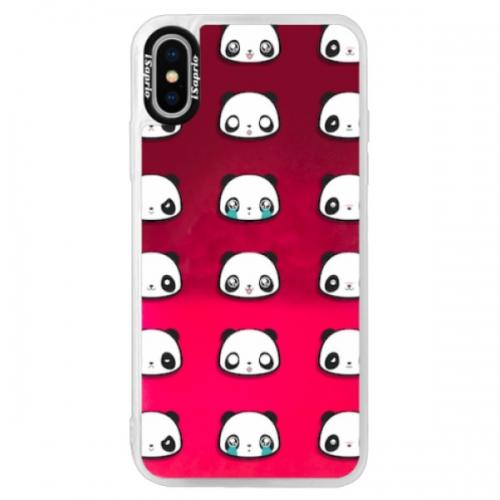Neonové pouzdro Pink iSaprio - Panda pattern 01 - iPhone XS