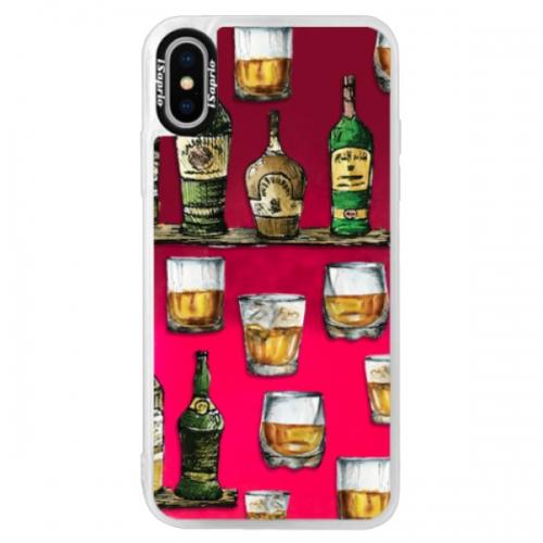 Neonové pouzdro Pink iSaprio - Whisky pattern - iPhone XS