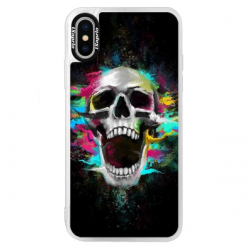 Neonové pouzdro Blue iSaprio - Skull in Colors - iPhone XS