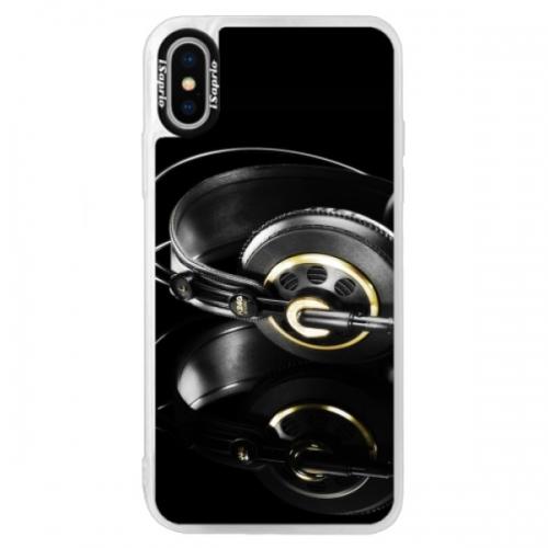 Neonové pouzdro Blue iSaprio - Headphones 02 - iPhone XS
