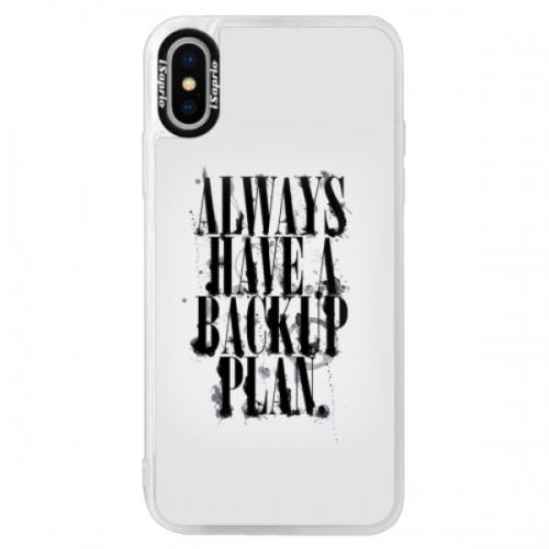Neonové pouzdro Blue iSaprio - Backup Plan - iPhone XS