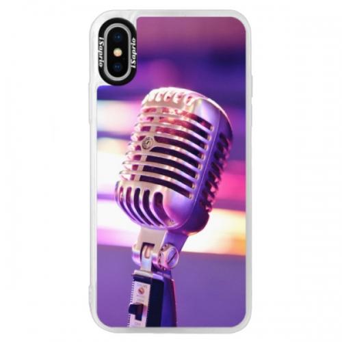 Neonové pouzdro Blue iSaprio - Vintage Microphone - iPhone XS