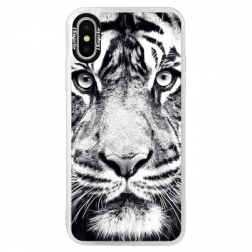 Neonové pouzdro Blue iSaprio - Tiger Face - iPhone XS