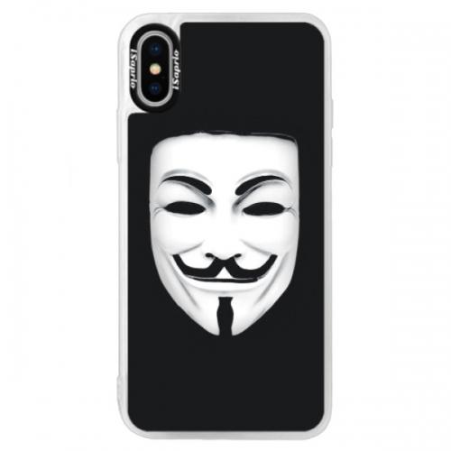Neonové pouzdro Blue iSaprio - Vendeta - iPhone XS