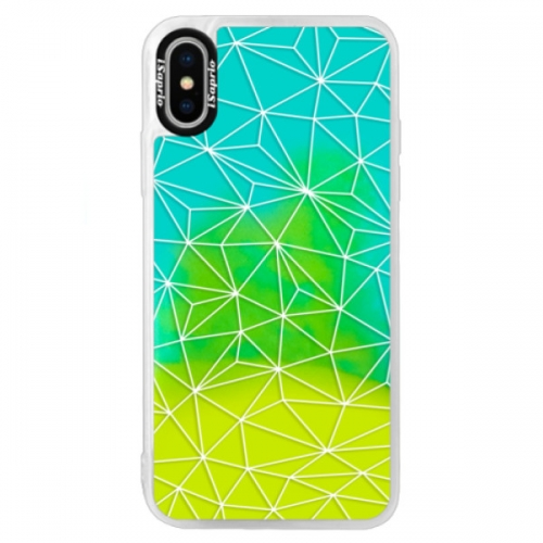 Neonové pouzdro Blue iSaprio - Abstract Triangles 03 - white - iPhone XS