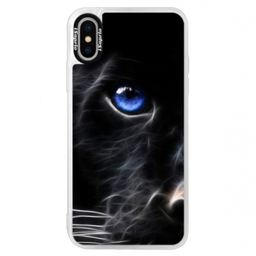Neonové pouzdro Blue iSaprio - Black Puma - iPhone XS