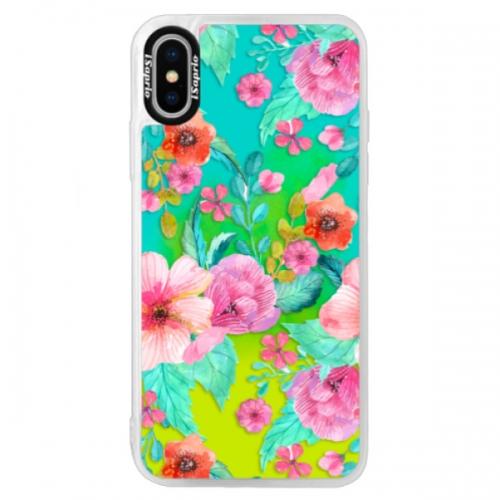 Neonové pouzdro Blue iSaprio - Flower Pattern 01 - iPhone XS