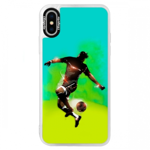 Neonové pouzdro Blue iSaprio - Fotball 01 - iPhone XS