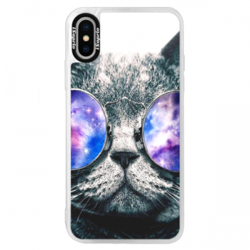 Neonové pouzdro Blue iSaprio - Galaxy Cat - iPhone XS
