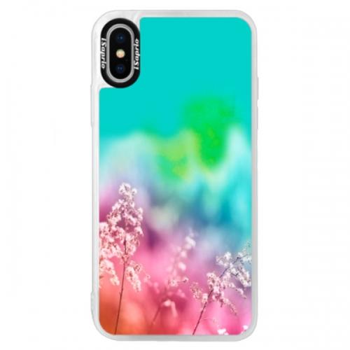 Neonové pouzdro Blue iSaprio - Rainbow Grass - iPhone XS