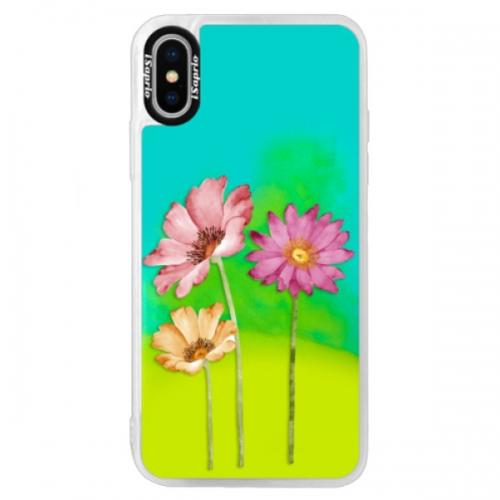 Neonové pouzdro Blue iSaprio - Three Flowers - iPhone XS