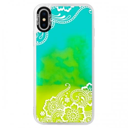 Neonové pouzdro Blue iSaprio - White Lace 02 - iPhone XS