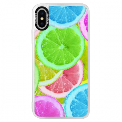 Neonové pouzdro Blue iSaprio - Lemon 02 - iPhone XS