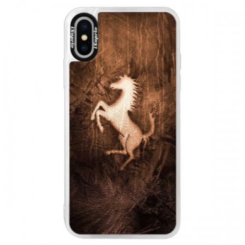 Neonové pouzdro Blue iSaprio - Vintage Horse - iPhone XS