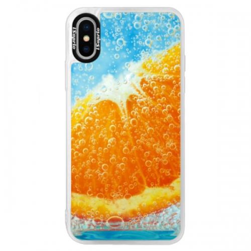 Neonové pouzdro Blue iSaprio - Orange Water - iPhone XS