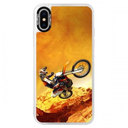 Neonové pouzdro Blue iSaprio - Motocross - iPhone XS