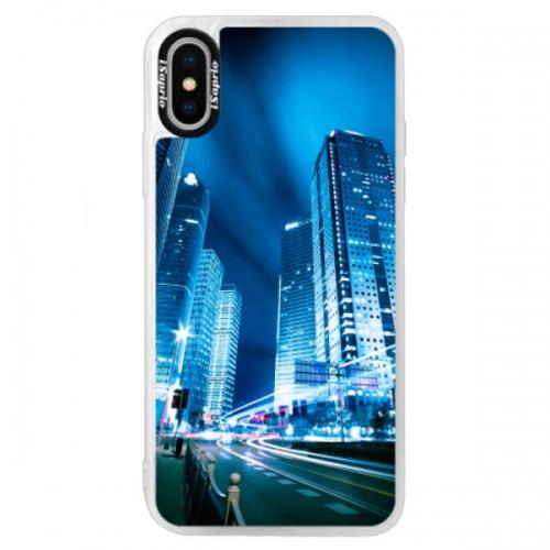 Neonové pouzdro Blue iSaprio - Night City Blue - iPhone XS