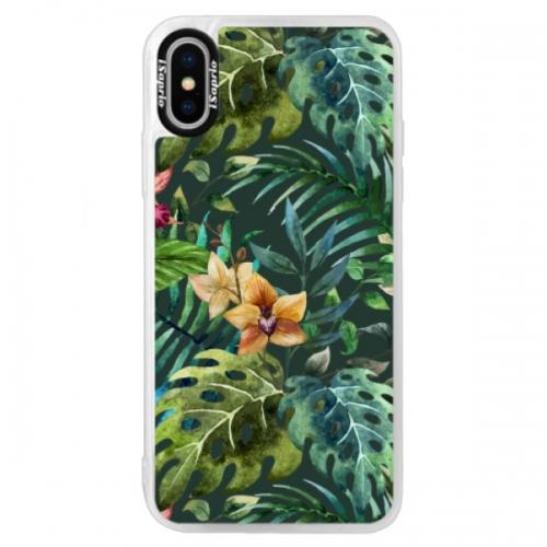 Neonové pouzdro Blue iSaprio - Tropical Green 02 - iPhone XS