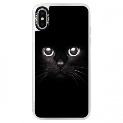 Neonové pouzdro Blue iSaprio - Black Cat - iPhone XS
