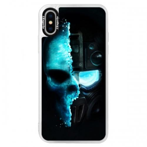 Neonové pouzdro Blue iSaprio - Roboskull - iPhone XS