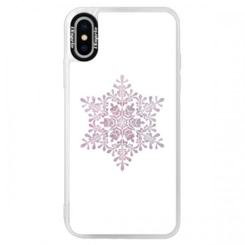 Neonové pouzdro Blue iSaprio - Snow Flake - iPhone XS