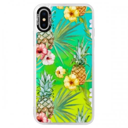 Neonové pouzdro Blue iSaprio - Pineapple Pattern 02 - iPhone XS