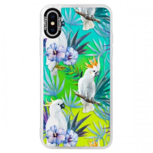Neonové pouzdro Blue iSaprio - Parrot Pattern 01 - iPhone XS