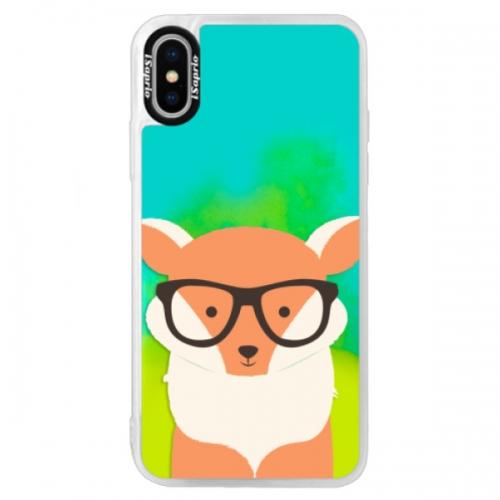 Neonové pouzdro Blue iSaprio - Orange Fox - iPhone XS