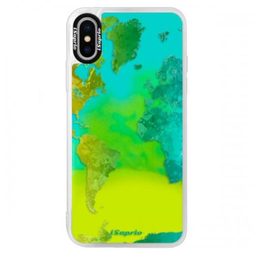 Neonové pouzdro Blue iSaprio - Cold Map - iPhone XS
