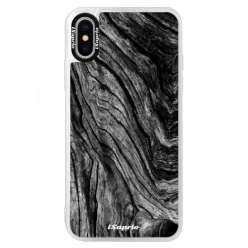 Neonové pouzdro Blue iSaprio - Burned Wood - iPhone XS