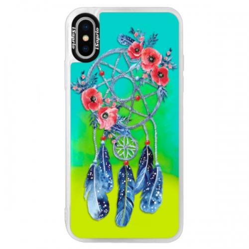 Neonové pouzdro Blue iSaprio - Dreamcatcher 02 - iPhone XS
