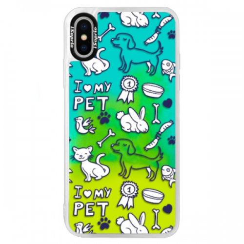 Neonové pouzdro Blue iSaprio - Love my pets - iPhone XS