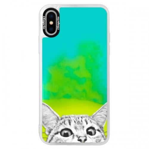 Neonové pouzdro Blue iSaprio - Cat 02 - iPhone XS