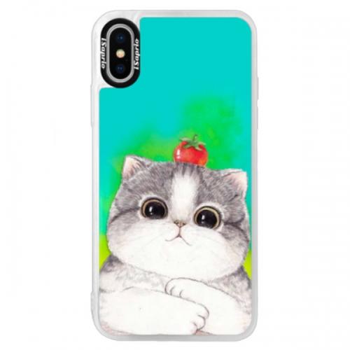 Neonové pouzdro Blue iSaprio - Cat 03 - iPhone XS