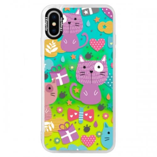 Neonové pouzdro Blue iSaprio - Cat pattern 01 - iPhone XS