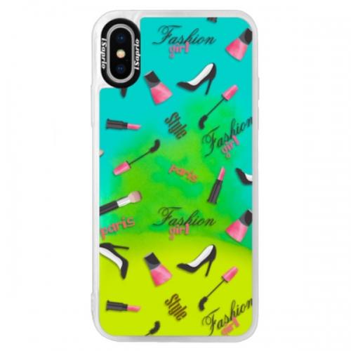 Neonové pouzdro Blue iSaprio - Fashion pattern 01 - iPhone XS