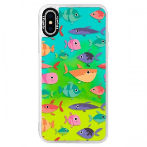 Neonové pouzdro Blue iSaprio - Fish pattern 01 - iPhone XS