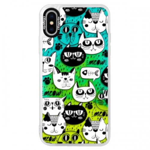 Neonové pouzdro Blue iSaprio - Cat pattern 03 - iPhone XS