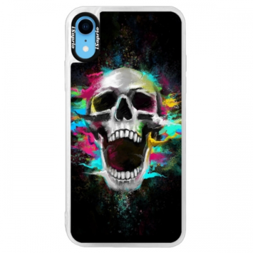 Neonové pouzdro Pink iSaprio - Skull in Colors - iPhone XR
