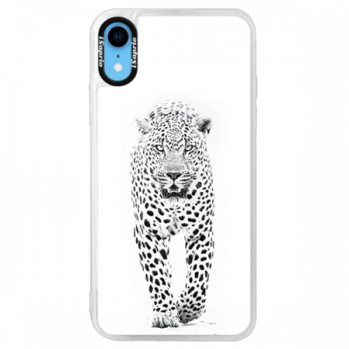 Neonové pouzdro Pink iSaprio - White Jaguar - iPhone XR