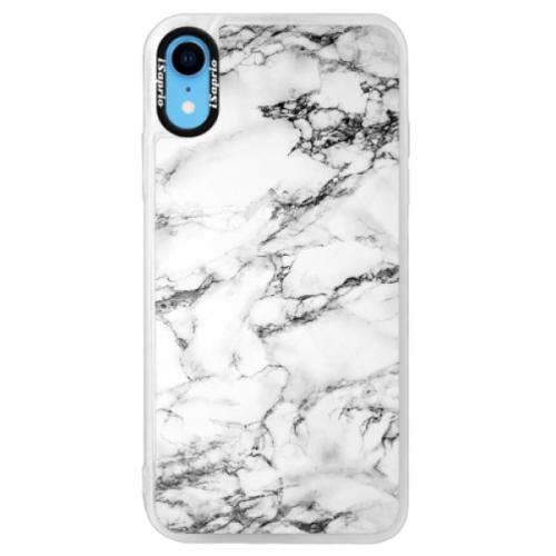 Neonové pouzdro Pink iSaprio - White Marble 01 - iPhone XR