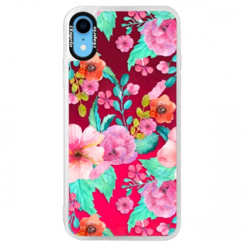 Neonové pouzdro Pink iSaprio - Flower Pattern 01 - iPhone XR