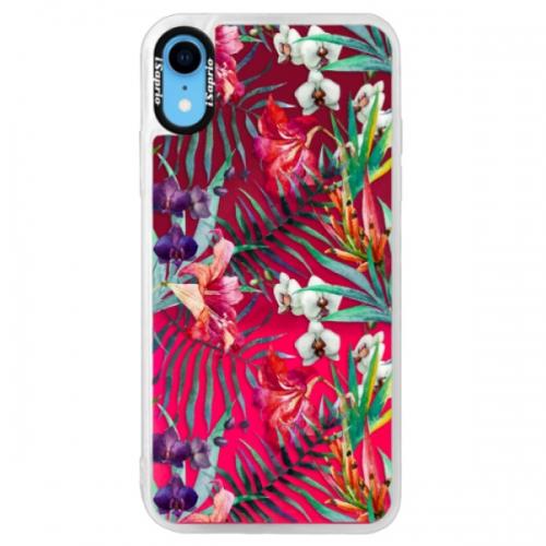 Neonové pouzdro Pink iSaprio - Flower Pattern 03 - iPhone XR